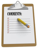 Clipboard with Comments and stubby pencil — Stock Photo