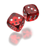 Red dice toss still in air — Stock Photo