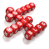 Dotcom, Social Media, and Blog as concepts on red blocks — Stock Photo