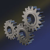 Three nickel gears meshing together with blue colored background — Stock Photo