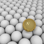 Gold outstanding ball on background of white golf balls — Stock Photo