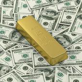 Barra d'oro o lingotti sullo sfondo delle banconote dollaro — Foto Stock