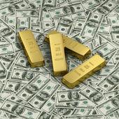 黄金或在我们美元纸币上的四个锭 — 图库照片