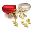 Capsule for foreign exchange cures — Stock Photo