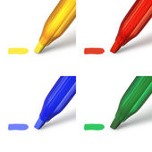 Highlighter markers in red, green, blue and yellow — Stock Photo