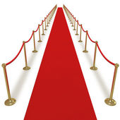 Long red carpet for VIPs — Stock Photo