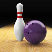 Bowling ball, pin and land as a composition — Stock Photo