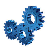 Three blue Gears Meshing Together — Stock Photo