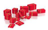 Beyaz zemin üzerine kırmızı hediye kutuları bileşimi — Stok fotoğraf