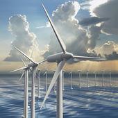 Line of wind generators at sea — Stockfoto