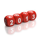 Red dice depicting year 2013 — Stock Photo