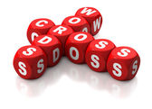 Red dice spelling Cross Word — Stock Photo