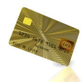 Inclined gold credit card — Stock Photo