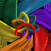 Kaeidoscope arrangement of colored hangers — Stock Photo