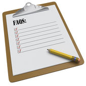 Clipboard with FAQs message and checkboxes — Stock Photo