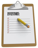 Clipboard with Inventory message and checkboxes — Stock Photo