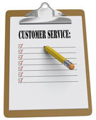 Clipboard with Customer Service message and checkboxes — Stock Photo