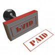 Paid red rubber stamp — Stock Photo