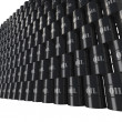 Wall of oil barrels in perspective view — Stock Photo