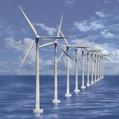 Linia generatorów wiatrowych na morzu — Zdjęcie stockowe