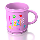 Lizzie personalized plastic mug — Stock Photo