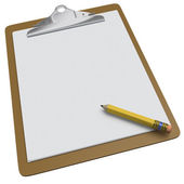 Clipboard with blank white page and pencil — Stock Photo