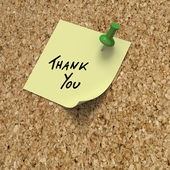 Post it note with thank you message — Stock Photo