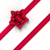 Red gift ribbons in diagonal array — Stock Photo