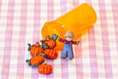 Halloween pills and scarecrow — Stock Photo