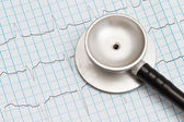 Stethoscope and ECG chart — Stock Photo