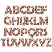 Mosaic alphabet — Stock Vector