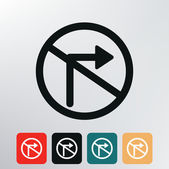 No right turn traffic sign icon. — Stock Vector