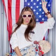 Beautiful patriotic girl — Stock Photo