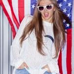 Beautiful patriotic girl — Photo