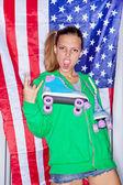Beautiful patriotic girl — Foto de Stock