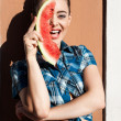 Girl in summer style with watermelon — Stock Photo #34993543