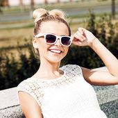 Girl in white summer dress — Stock Photo