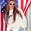 Beautiful patriotic girl — Stock Photo #44077395