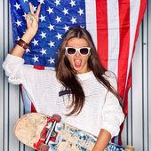 Beautiful patriotic girl — Stock Photo