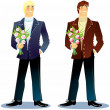 Man with a bouquet — Stock Vector