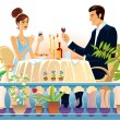 Evening supper. — Stock Vector