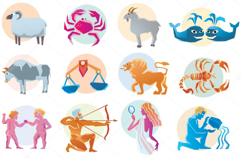 Illustrations of the twelve horoscope zodiac star signs  — Stock Vector #13581837
