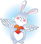Darling rabbit with wings — Stock Vector