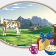 Rural landscape and dairy foodstuff. - Stock vektor