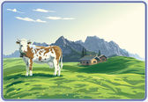 Mountain landscape with cow. — Stock Vector