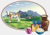 Paysage rural et la denrée alimentaire laitier. — Vecteur