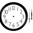 Stock Photo: Black and white wall clock with Hands Separated