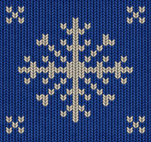 Blue knitted snowflake — Stock Photo