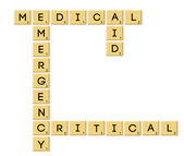 Scrabble type text- medical emergency critical — Stock Photo