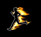 Fast running human symbolized by flames — Stock Photo